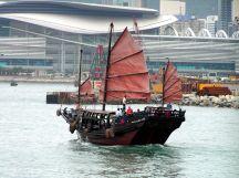 Junk boat on Victoria Harbour, Hong Kong.