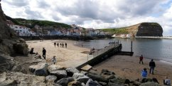 View of Staithes, North Yorkshire, from the beach.