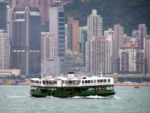 A Star Ferry on Victoria Harbour, Hong Kong.