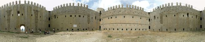 Panoramic view inside Castell del Montgri, Torroella de Montgrí, Catalonia, Spain.
