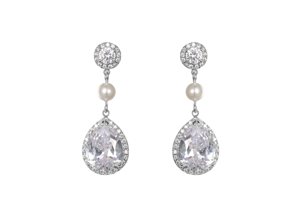 pear drop petals zirconia amazon gold com rose earrings cubic dp style