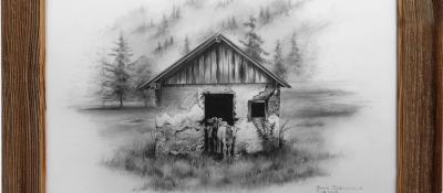 """""""Tranquilité"""" <br/> 50 x 70 cm <br/> Crayons gris sur fond blanc"""