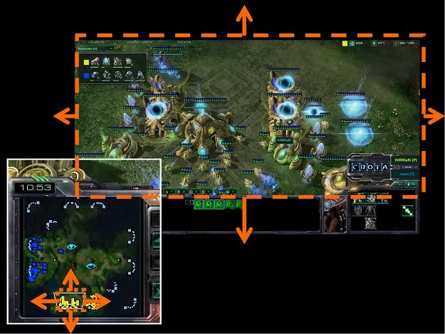 Minimap tirée d'un match de StarCraft II: Wings of Liberty (Blizzard Entertainment, 2010-2012) commenté par Crota.