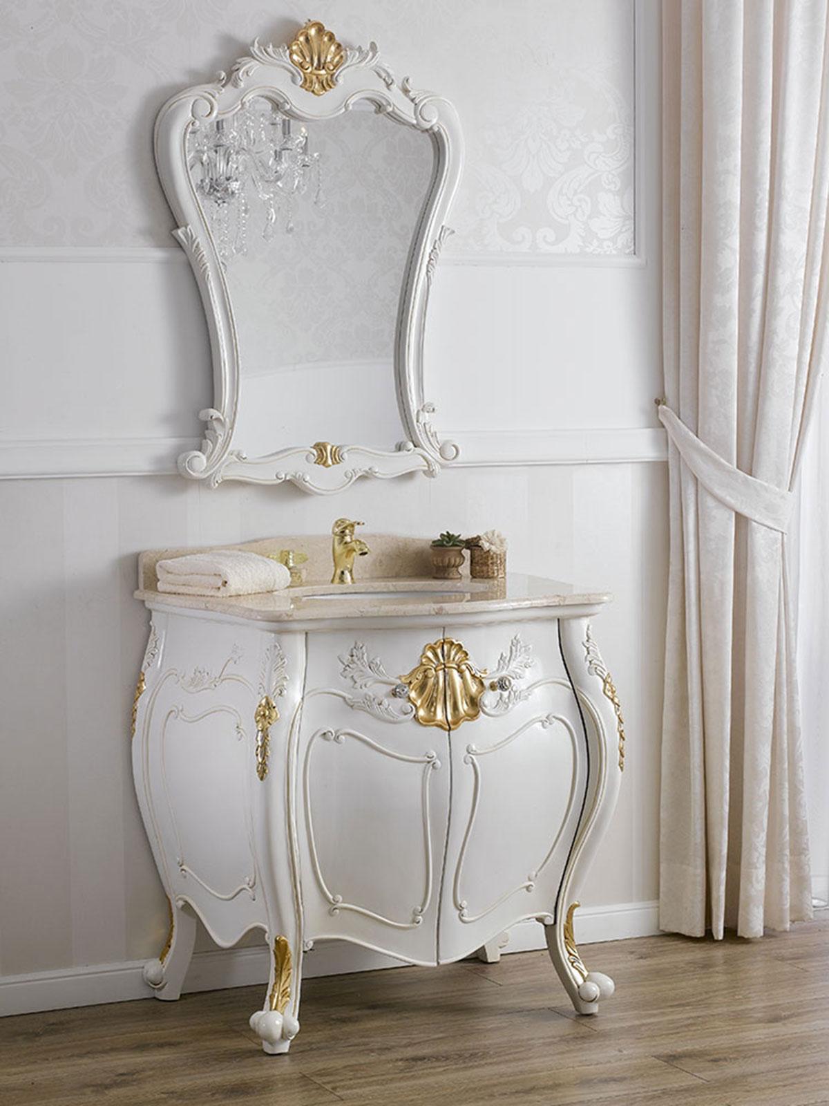 Badezimmer Kommode mit Spiegel Anderson Barock Stil Decape Badmbel gewlbt elfe  eBay