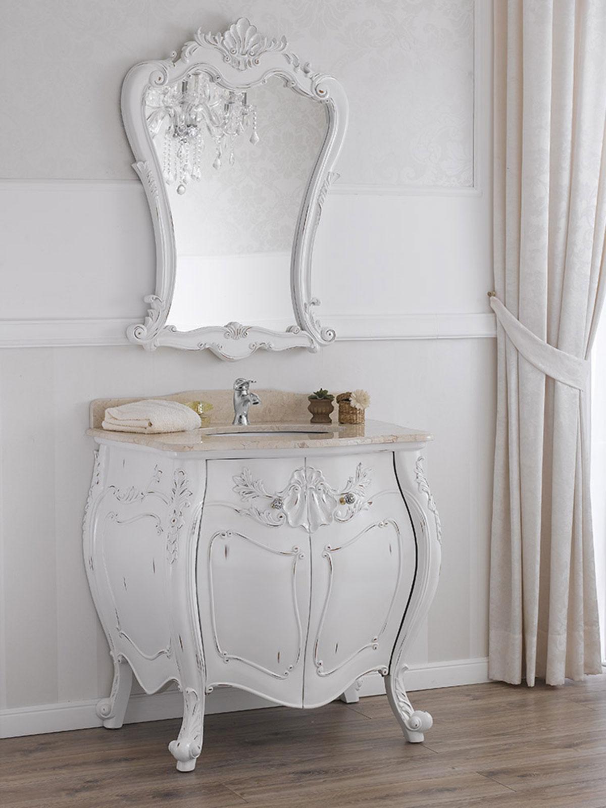 Badezimmerschrank mit Spiegel Anderson Shabby Chic Stil