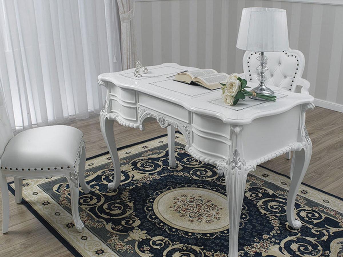 details sur bureau secretaire diana style chippendale moderne ministeriel 180 cm blanc laque