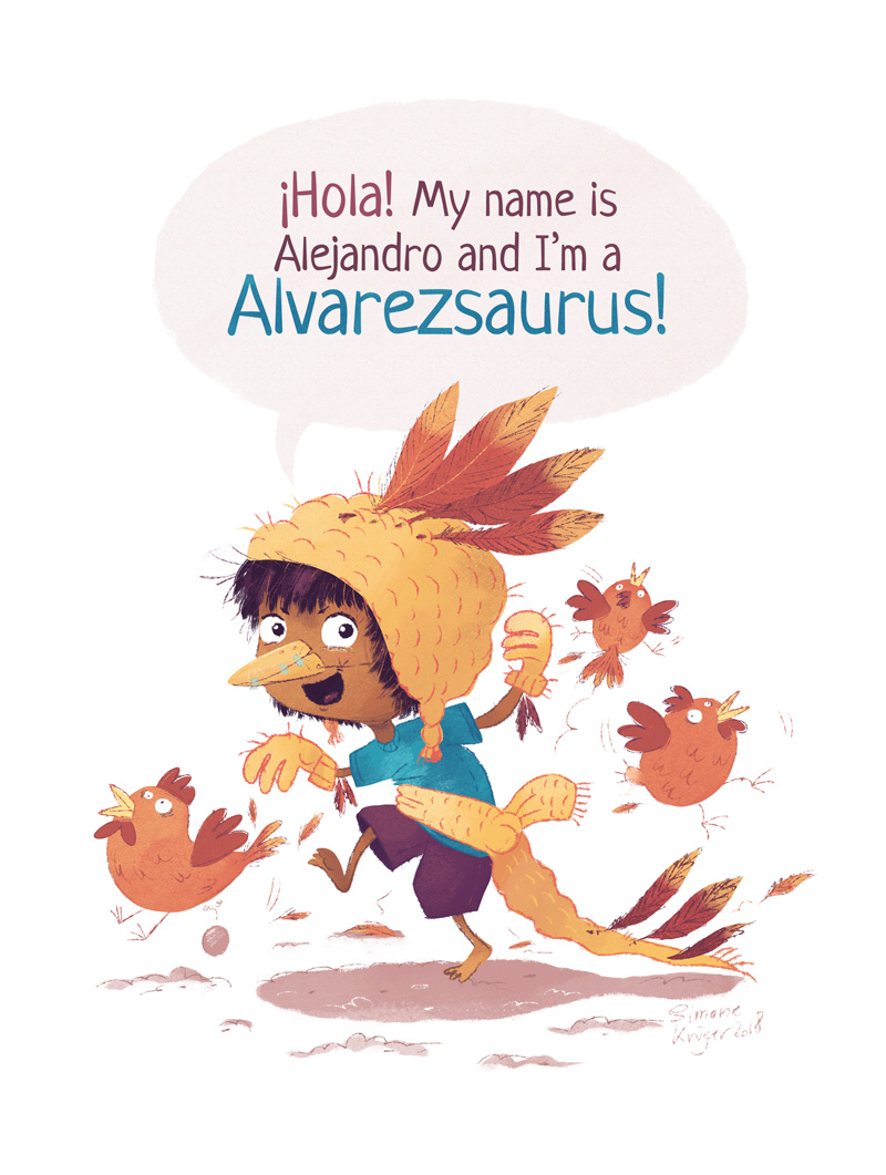 Boy Dresses Up as a Alvarezsaurus using feathers, a scarf and a wolly hat