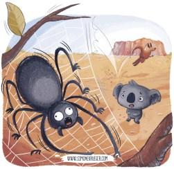 "Final Artwork of the Spider and Koala saying ""Sorry"" for Kangaroo."