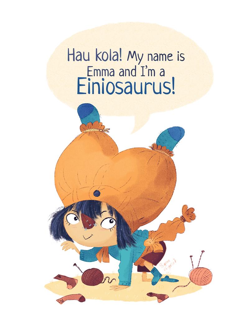 Girl is dressing up as the dinosaur Einiosaurus