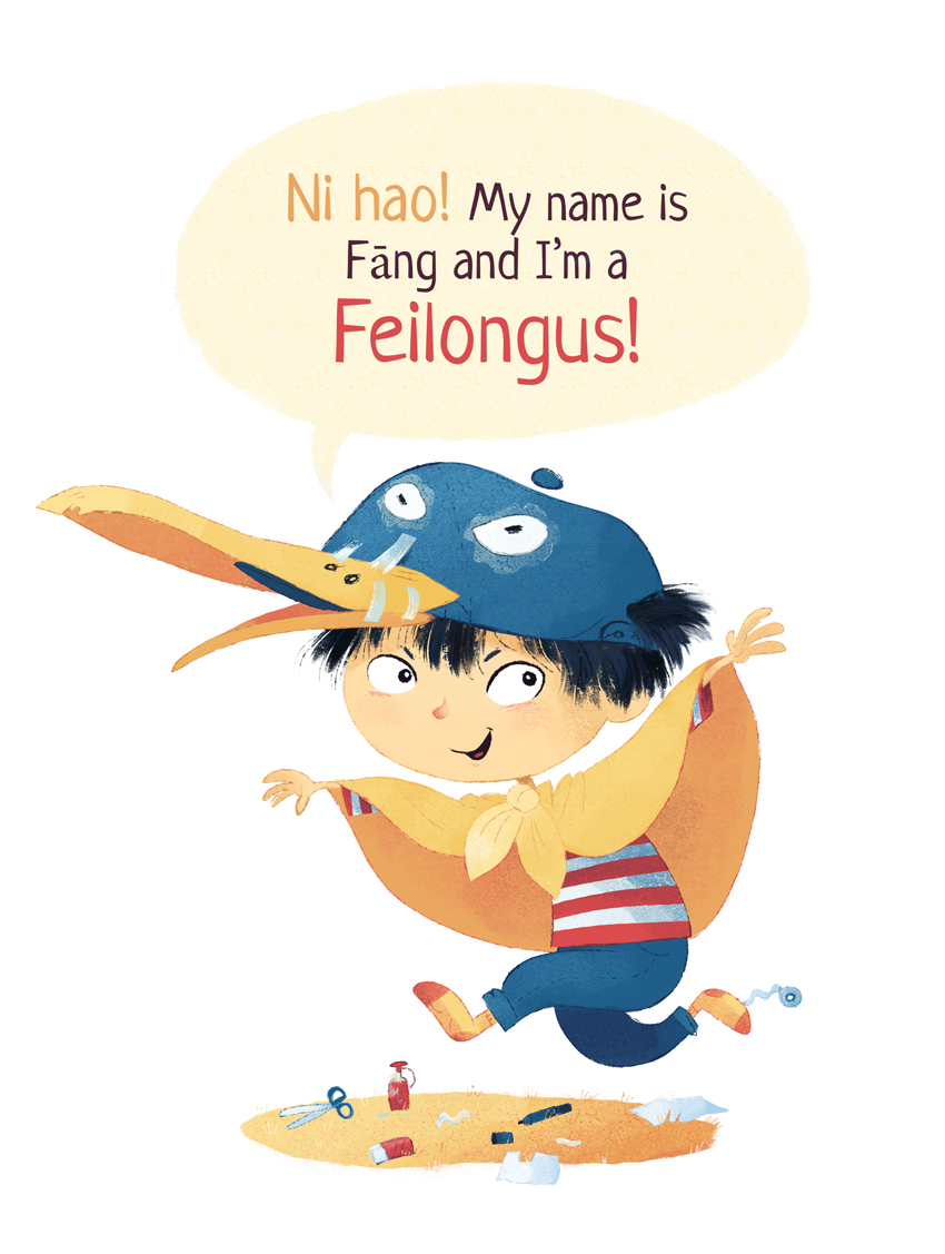 Boy dressing up as a Feilongus.