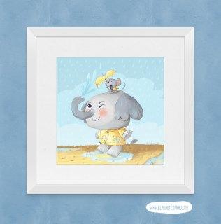 Elephant and Mouse Art Print