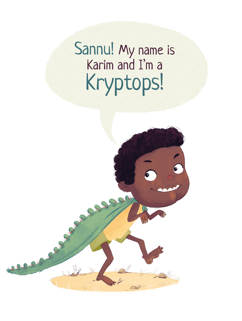 Boy is dressing up as the dinosaur Kryptops