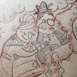 Detail Shot of the sketch for the first page showing Mr and Mrs Vinegar sitting on a tree