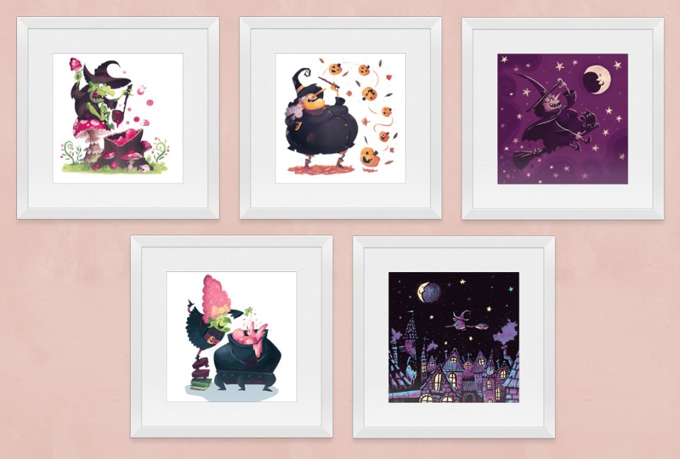 All art prints framed and lined up on a wall