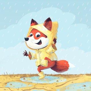 Fox Kid having fun at a puddle