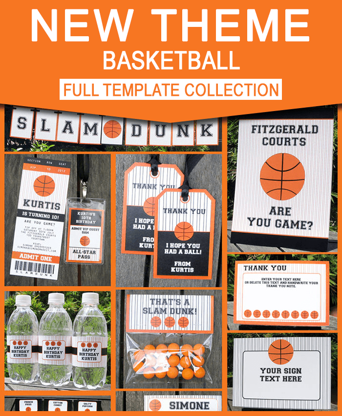 basketball invitation printable birthday party collection