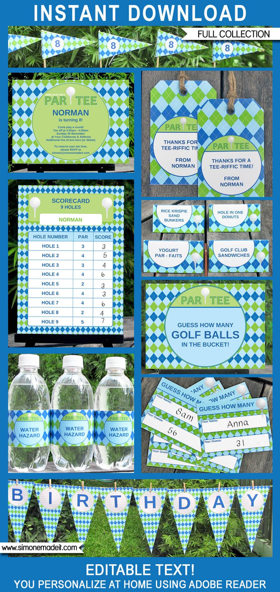 Golf Party Printables Invitations Amp Decorations Golf Par Tee