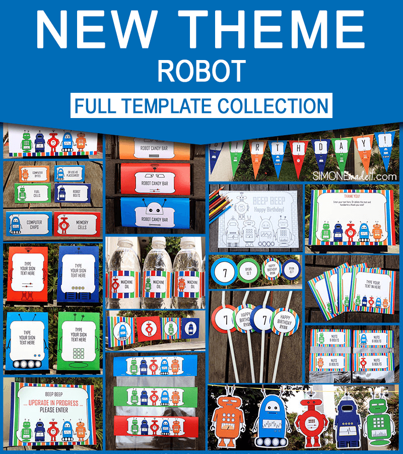 Printable Robot Invitations Amp Birthday Party Collection NEW