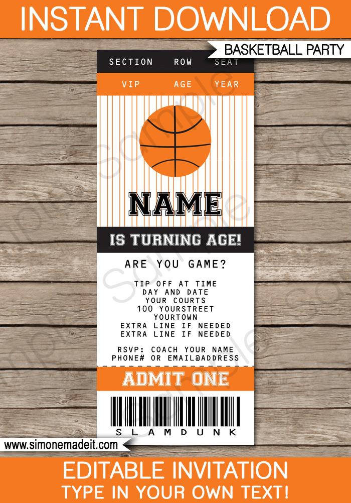 basketball ticket invitation template black orange
