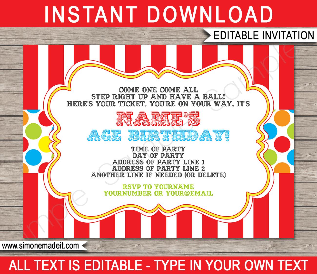 carnival invitation template colorful