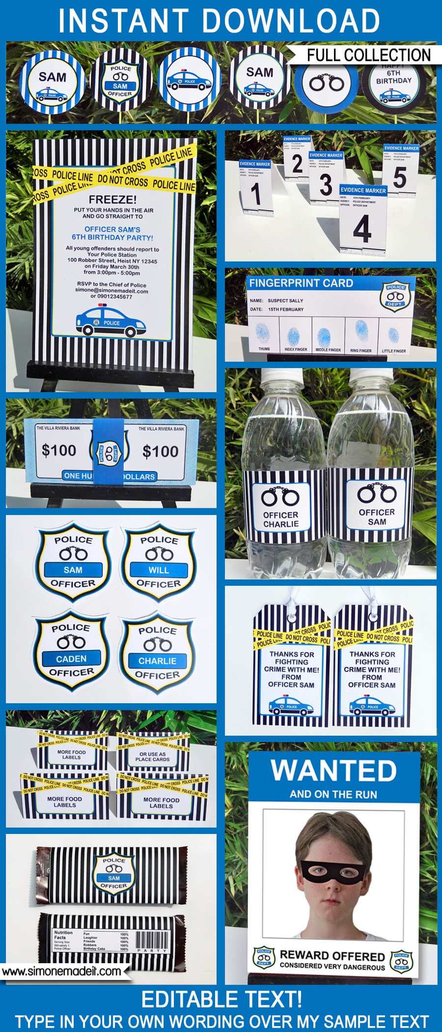 Police Party Printables Invitations & Decorations