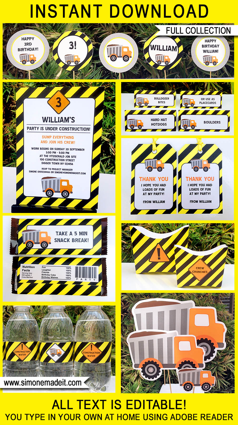 Construction Party Printables Invitations Amp Decorations