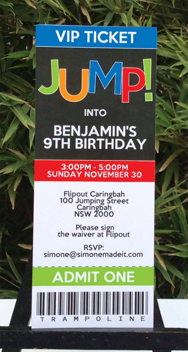 Trampoline Birthday Party Invitations Printable Templates