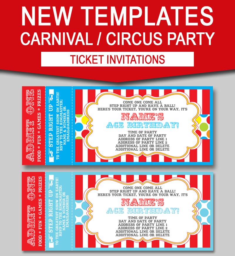 Editable Carnival Ticket Invitations Circus Or Carnival