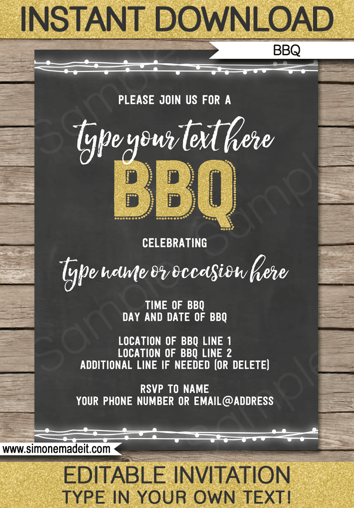 Chalkboard BBQ Invitations Template Gold Glitter