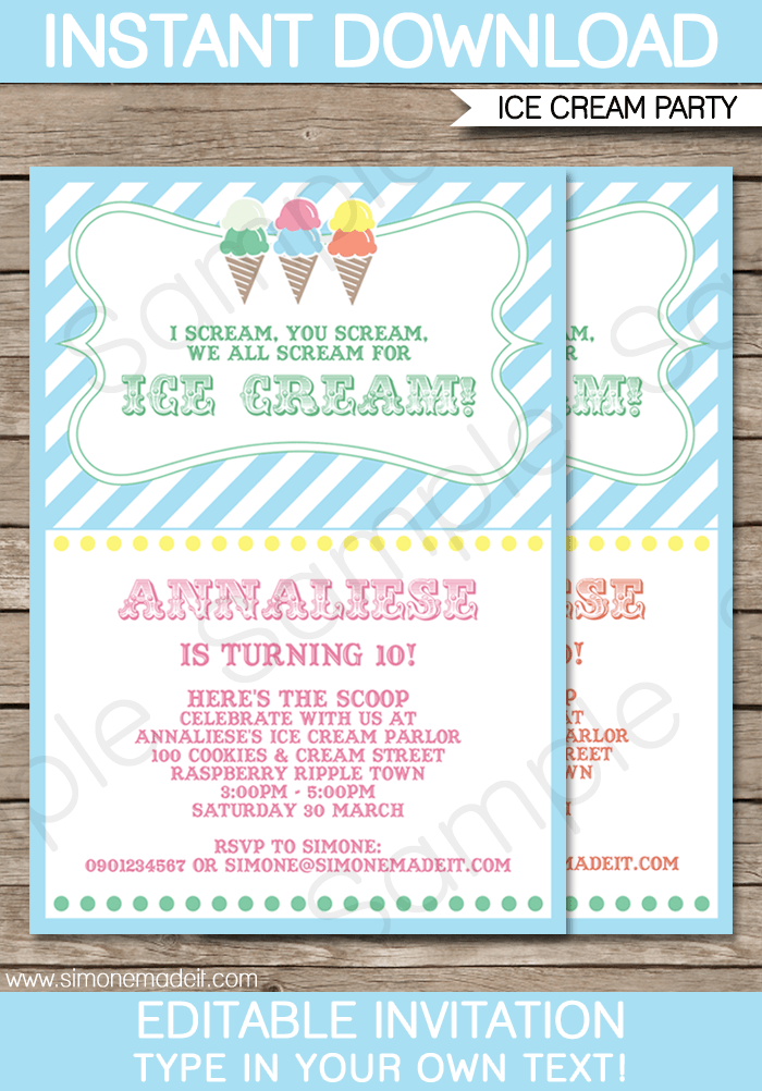 ice cream party invitations template