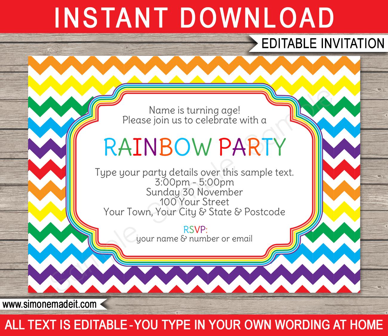 Rainbow Party Invitations Template