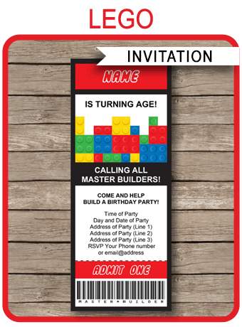 Lego Ticket Invitations Birthday Party Template