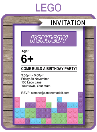 Lego Friends Party Invitations Birthday Party Template
