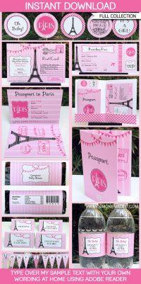 Paris Baby Shower Printables, Invitations & Decorations