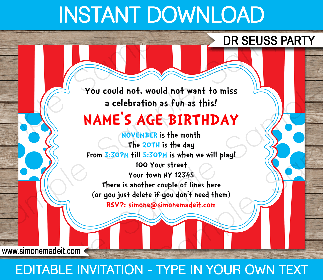 dr seuss party invitations template