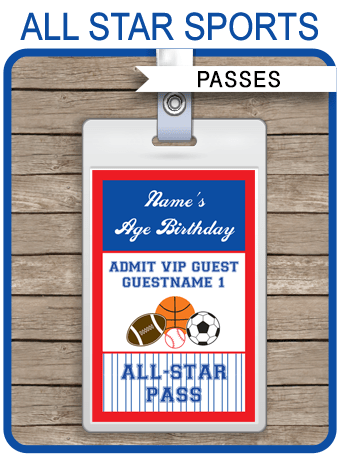 All Star Sports Party VIP Passes Template  Party Favors