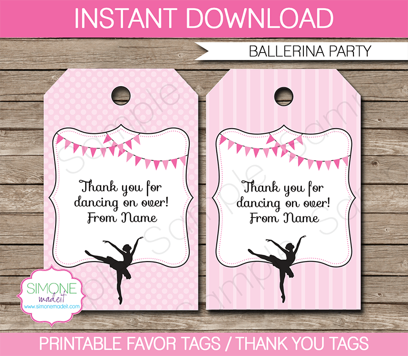 Ballerina Party Favor Tags Thank You Tags Birthday Party