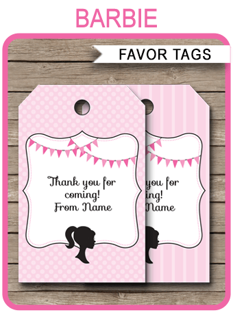 Barbie Party Favor Tags Template Thank You Tags