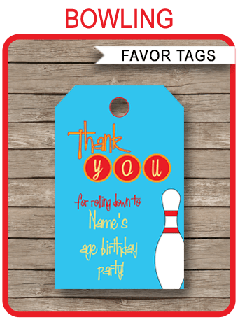 Bowling Party Favor Tags  Thank You Tags  Birthday Party