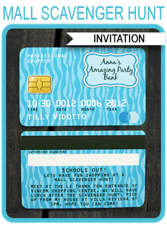 Credit Card Party Invitations Mall Scavenger Hunt Blue