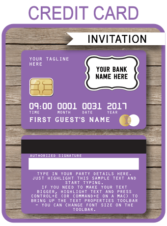 Purple Credit Card Invitations Mall Scavenger Hunt