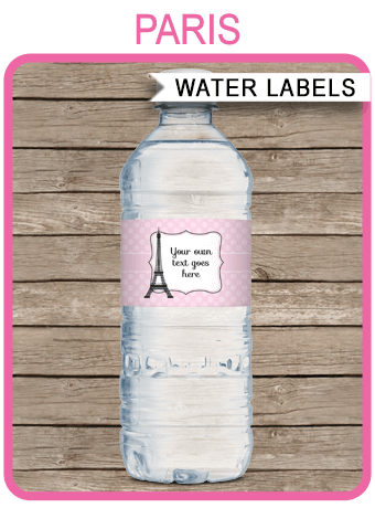 Paris Party Water Bottle Labels  Birthday Party