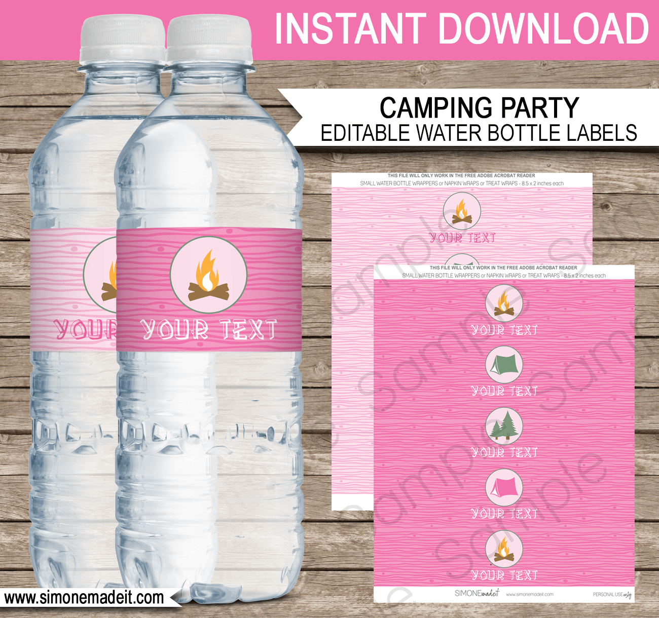 Pink Girl Camping Party Water Bottle Labels