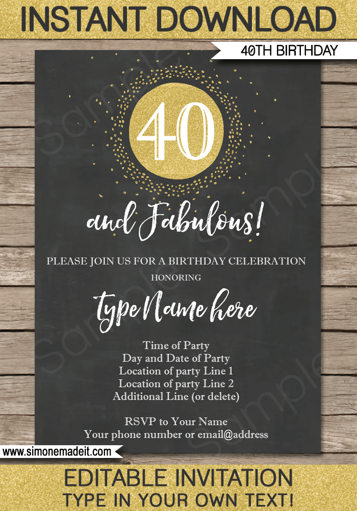40th birthday invitations template