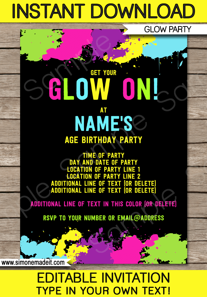 free printable neon birthday party invitations Cogimbous