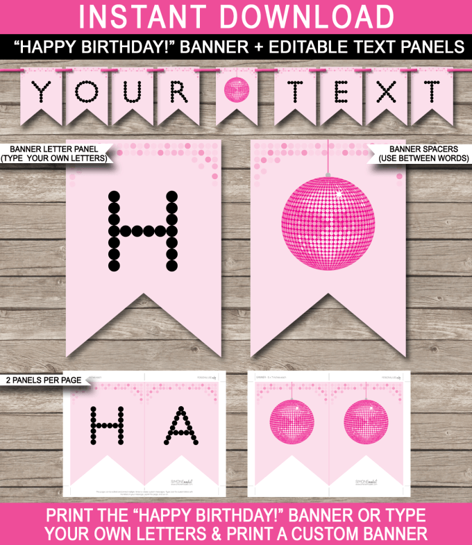Happy birthday banner per letter printable dulahotw dance party banner template disco birthday editable bunting spiritdancerdesigns Images