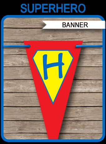 Superhero Party Banner Template Birthday Banner