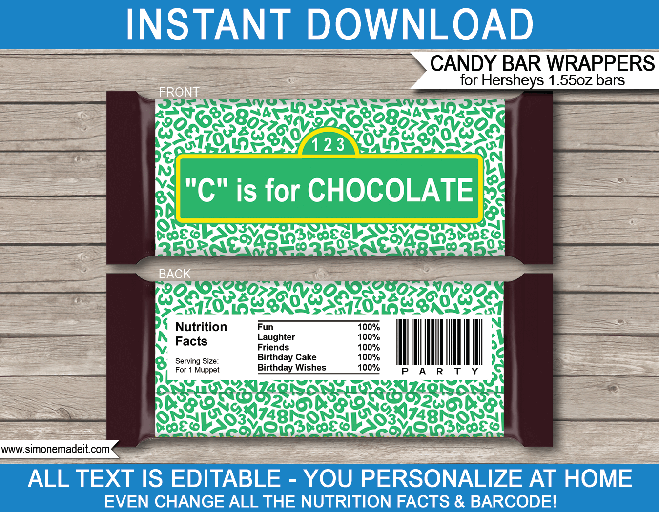 Sesame Street Hershey Candy Bar Wrappers Personalized Candy Bars