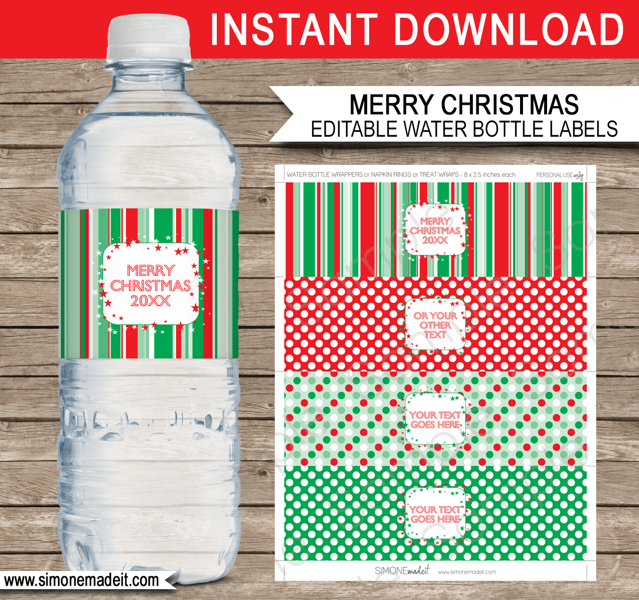 Christmas Water Bottle Labels Template – Red & Green