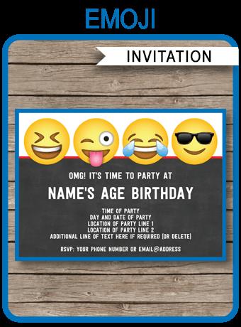 emoji theme party invitations template boys